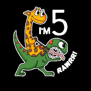 Dinosaurier Giraffe 5 Geburtstag Kindergeburtstag