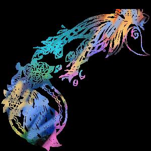 Aquarell, bunt, malerei, filigran, pfau, ornament