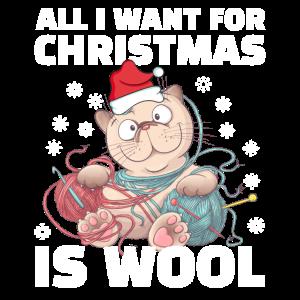 Stricken Katze Wolle