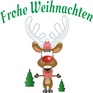 Rudolph das Rentier mit Schal und Mütze