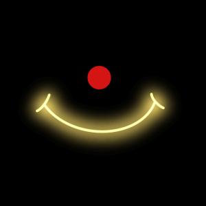 Rote Nase mit goldenem Lächeln Gesichtsmaske