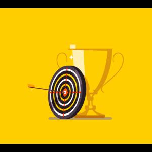 Goldener Pokalpfeil trifft Zielzentrum-Bogen-Trophäe