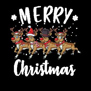 Frohe Weihnachten Merry Christmas Rentier