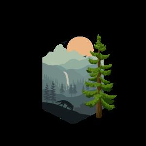 Wald Landschaft Berge Fuchs