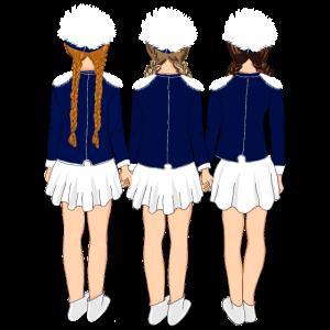 Drei Gardemädchen in blauer Uniform