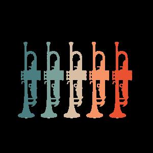 Retro Vintage Trompeten Farben Geschenk