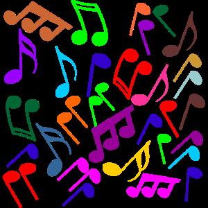 Musiknoten bunt und fröhlich