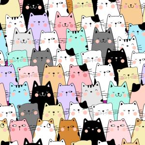Fröhliches Katzen Muster Mundschutz