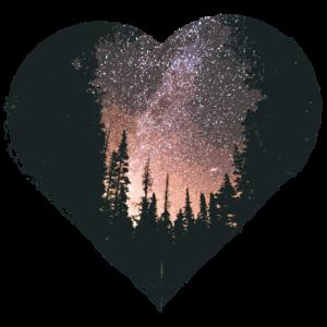 Herz mit Wand und Sternenhimmel Universum