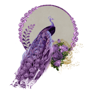 Wunderbare Pfau und Blumen in lila Farben.