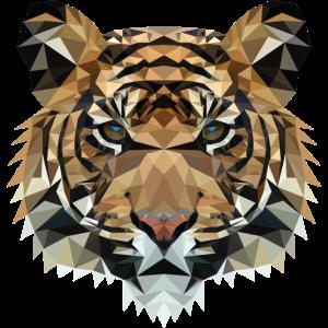 Polygon Tiger Design | Low Poly Art | geometrisch