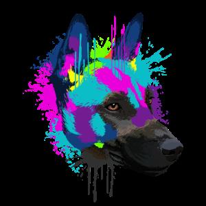 Splash Art Malinois Hund Hundehalter Geschenk