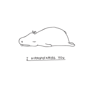 Minimalismus Line Art Kunst Nilpferd Hippo