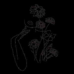 Minimalismus Line Art Kunst Frau Mit Blumen