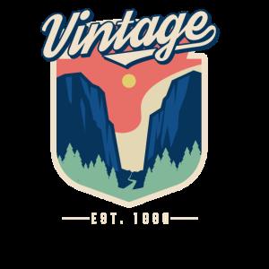 Vintage 1980 Geburtstag Retro Berge natur Geschenk