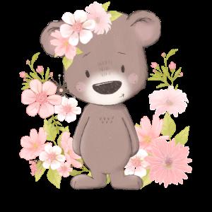 Kinder Blumen Kleinbär Teddybär Blümchen Motiv