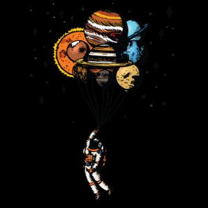 Astronauten pflanzen Luftballons