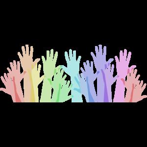 Regenbogen Hände als Zeichen des Zusammenhalts