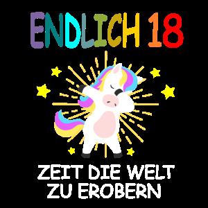 18. Geburtstag Einhorn Dabbing 18 Jahre Geschenk
