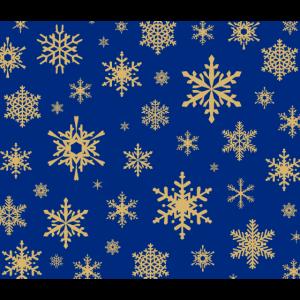 Goldfarbene Schneeflocken mit blauem Hintergrund