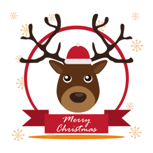 Frohe Weihnachten Happy Santa Reindeer