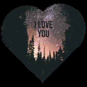Herz mit Wald und Sternenhimmel I love you