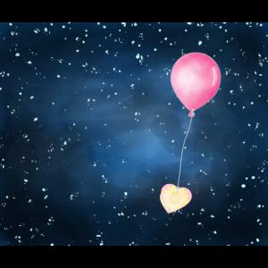 Ballon, Herz, Nachthimmel