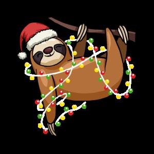 Sloth Lighting Christmas Tree Graphic Tee
