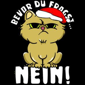 Lustiges Katzen T-Shirt süße Katze Weihnachten