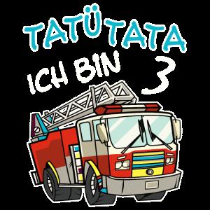 Jungen 3. Geburtstag Feuerwehr T-Shirt Ich bin 3