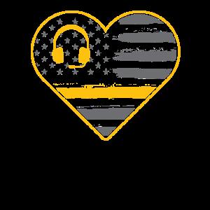 Dünne gelbe Linie Herzform und Flagge -
