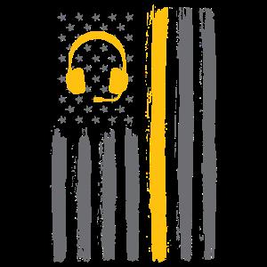 Amerikanische Flagge der dünnen gelben Linie - Dispatcher