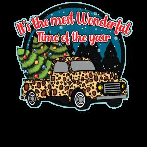 Weihnachten Truck Leopard Pattern Wunderbare Weihnachten