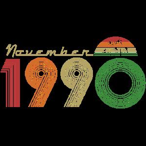 November 1990 geboren Retro Geburtstag Geschenk
