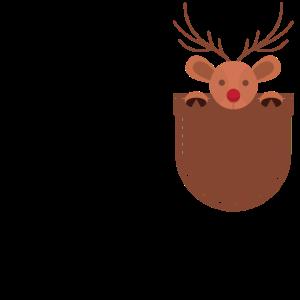 Rentier in Brusttasche Weihnachten Geschenk