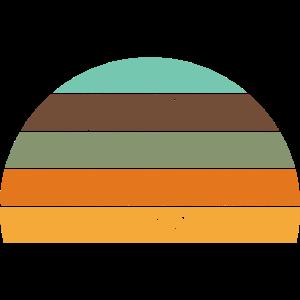Retro Sunset Vintage Sonne Streifen Kreis