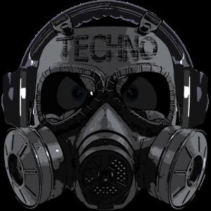 Dark Techno Head Gasmaske Kopfhörer