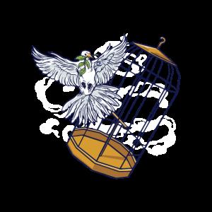 Taube fliegt aus goldenem Käfig