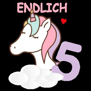 Endlich 5 - 5 Jahre - Einhorn - Geburtstag