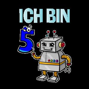 Lustiges Ich bin 5 Roboter Kindergeburtstag