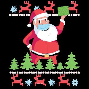 Weihnachtsmann Maske Mundschutz Ugly Sweater