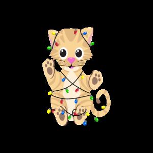 Katze mit Lichterkette