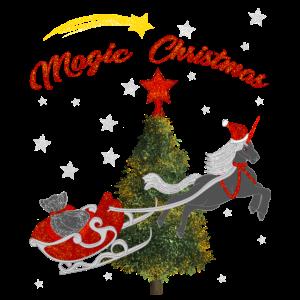 Einhorn Mit Weihnachtsschlitten, Sternenhimmel