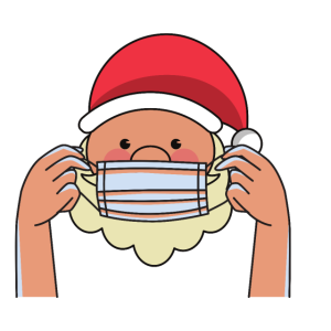 Weihnachtsmann trägt Maske