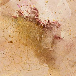 Aquarell-Malerei Abstrakte Roségold-Malerei