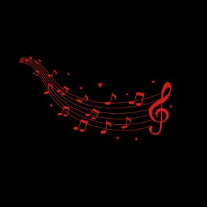 Notenschlüssel mit Musiknoten Rot