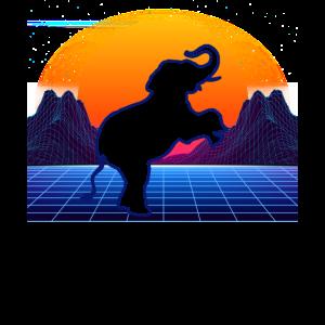 Elefant Retro Synthwave Geschenk