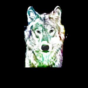 Wolf Zeichnung bunt coloriert