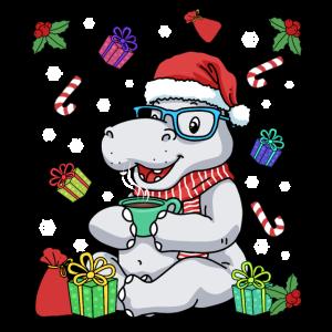 Weihnachten Nilpferd Shirt Kakao Tshirt Flusspferd