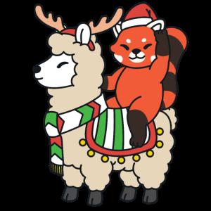 Weihnachten roter Panda Reitet Lama mit Rentier
